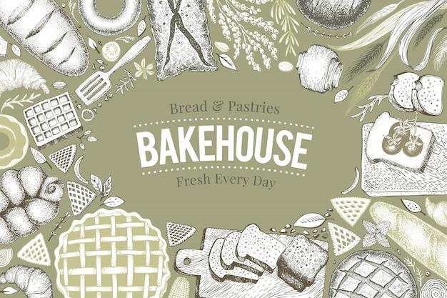 Telaio da vista superiore per panetteria. illustrazione vettoriale disegnato a mano con pane e pasticceria. Vettore Premium