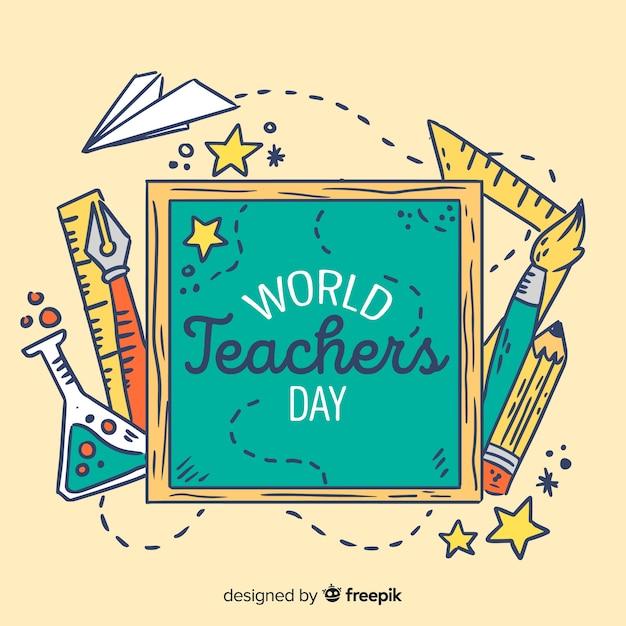 Telaio di giorno di insegnanti di mondo disegnato a mano Vettore gratuito