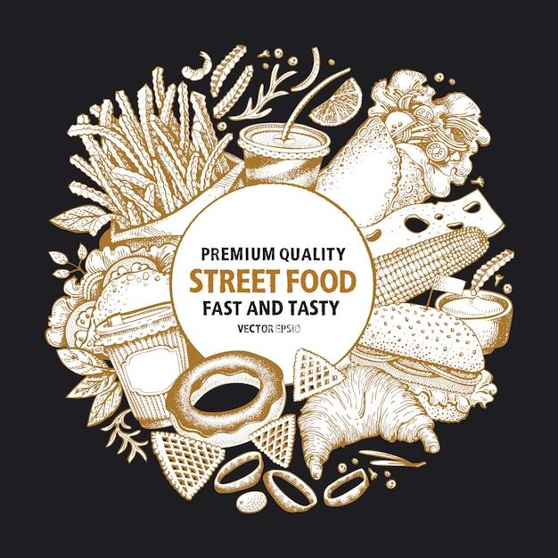 Telaio di vettore di fast food. modello di progettazione di banner cibo di strada. Vettore Premium
