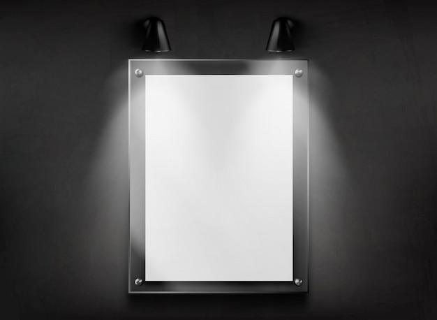 Telaio in vetro piatto in metacrilato sul vettore realistico della parete Vettore gratuito