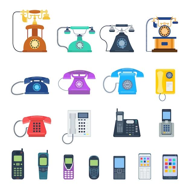 Telefoni moderni e telefoni vintage isolati. la tecnologia classica dei telefoni sostiene il simbolo, retro attrezzatura mobile dei telefoni. Vettore Premium