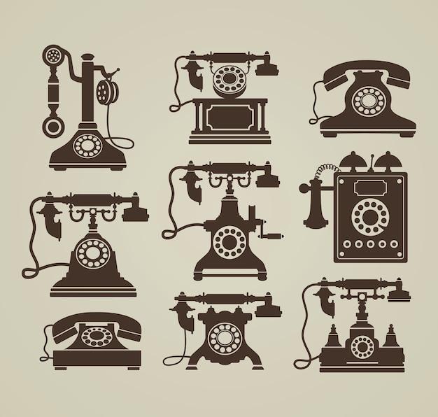 Telefoni vintage Vettore Premium