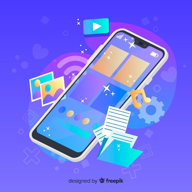 Telefono cellulare con icone multimediali accanto Vettore gratuito