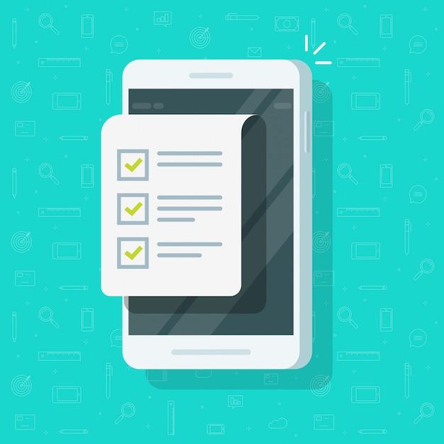 Telefono cellulare con il modulo della lista di controllo o l'esposizione dello smartphone con il documento o fare lista con l'illustrazione delle caselle di controllo, fumetto piano Vettore Premium