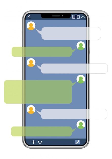 Telefono Cellulare Con Interfaccia Sns Isolato Su Sfondo Bianco