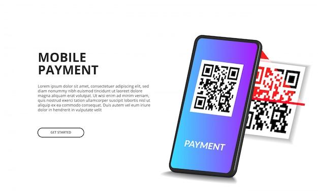 Telefono cellulare di codice qr di scansione di prospettiva 3d per il concetto di pagamento digitale Vettore Premium