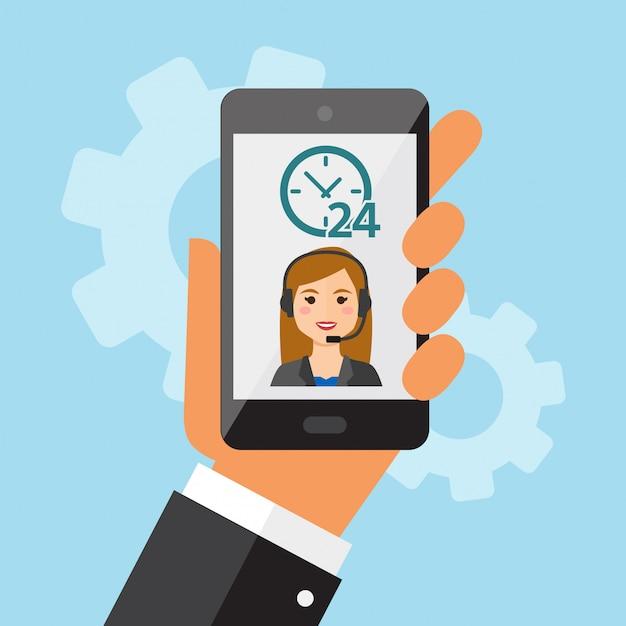 Telefono cellulare in mano con call center femminile Vettore Premium