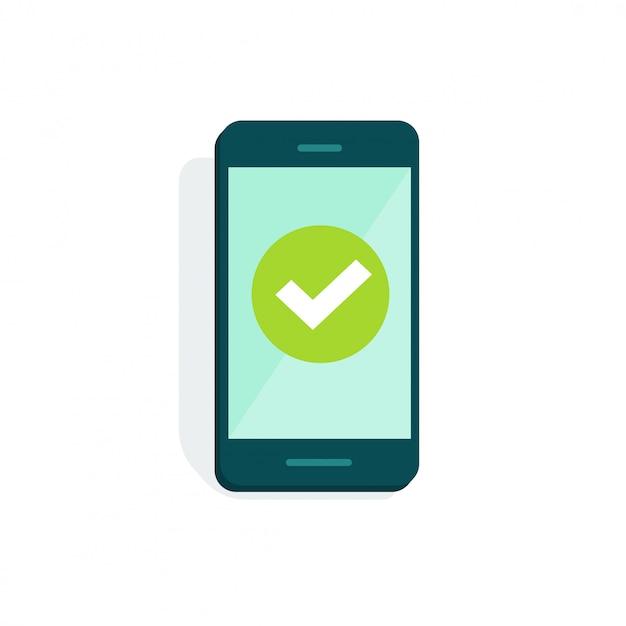 Telefono cellulare o cellulare con il segno di spunta sul fumetto piano dell'illustrazione di vettore dell'esposizione Vettore Premium