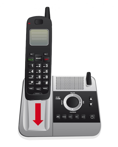 Telefono Cordless Isolato Su Sfondo Bianco Vettoriale Scaricare