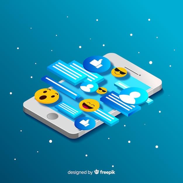 Telefono isometrico con il concetto di chat ed emoji Vettore gratuito