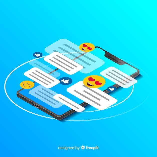 Telefono isometrico con il concetto di chat Vettore gratuito