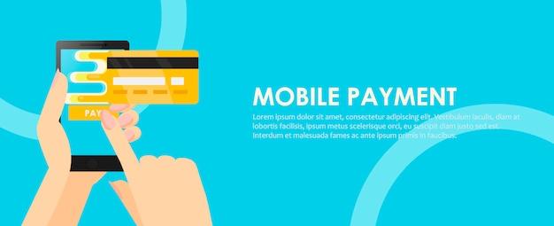 Telefono nelle mani con una carta di credito. pagamento online da cellulare. Vettore gratuito