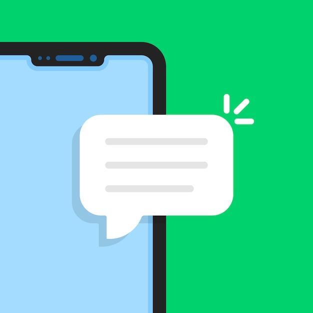 Telefono senza cornice di cartone animato come una chat online Vettore Premium