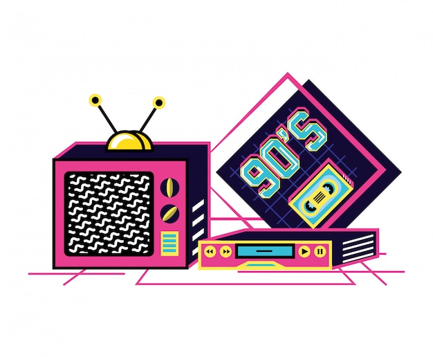 Televisore con vhs degli anni novanta retrò Vettore Premium