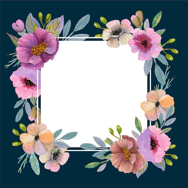 Tema cornice floreale primavera dell'acquerello Vettore gratuito