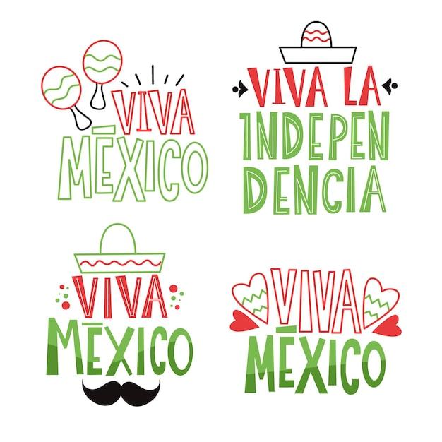 Tema dei distintivi per la festa dell'indipendenza del messico Vettore gratuito