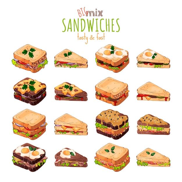 Tema del fast food: grande set di diversi tipi di sandwich. Vettore Premium