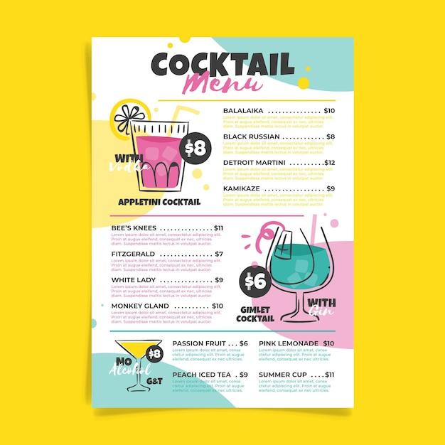Tema del modello di menu cocktail Vettore gratuito