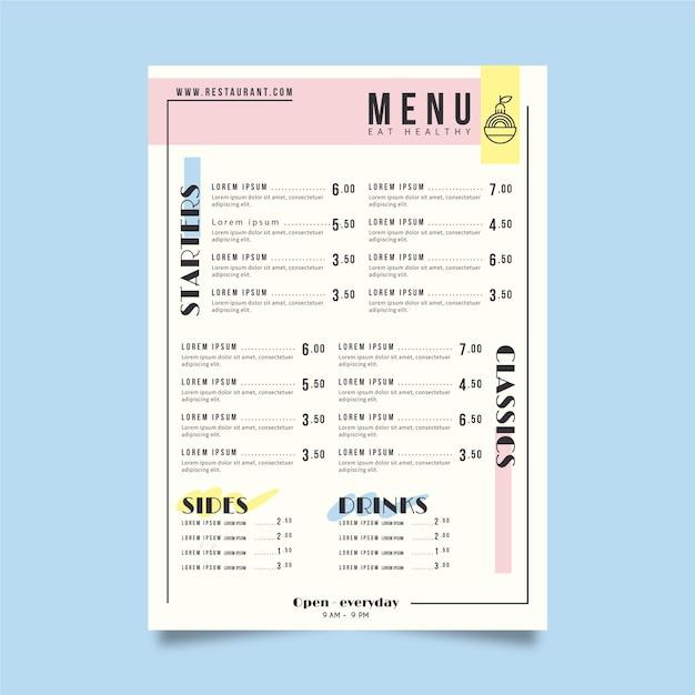 Tema del modello di menu del ristorante Vettore gratuito