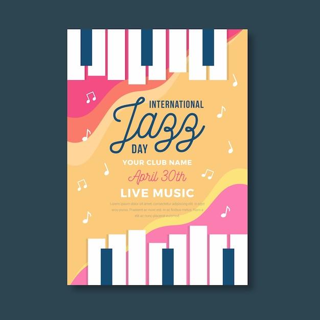 Tema del modello di poster di giornata jazz internazionale Vettore gratuito