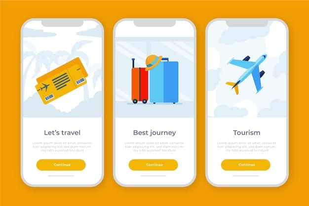 Tema dell'app onboarding per i viaggi Vettore gratuito