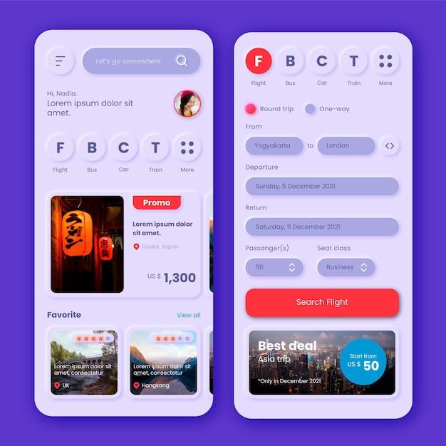 Tema dell'app per la prenotazione di viaggi Vettore gratuito