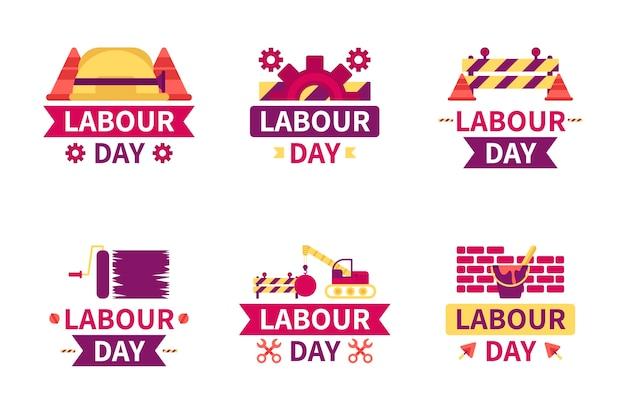 Tema della collezione di etichette festa del lavoro Vettore gratuito