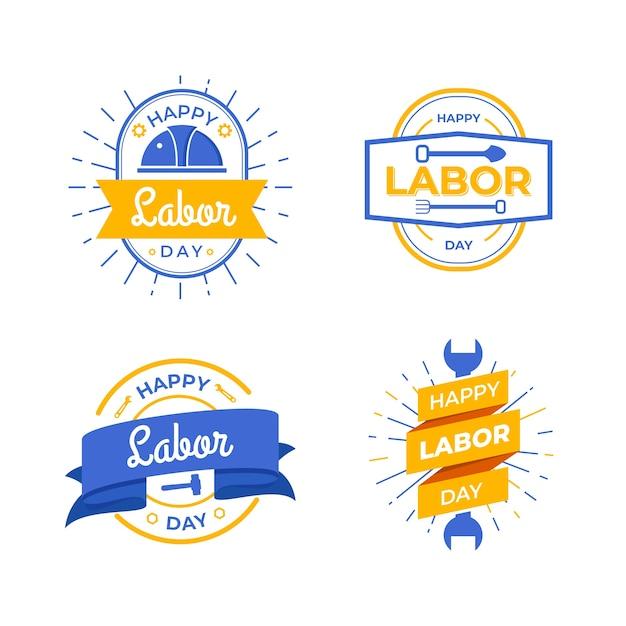 Tema della collezione di etichette per la festa del lavoro Vettore gratuito