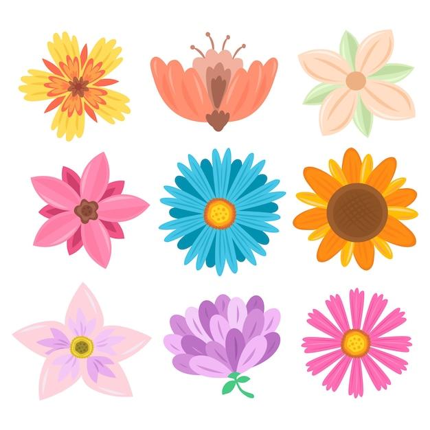 Tema della collezione di fiori primaverili disegnati a mano Vettore gratuito