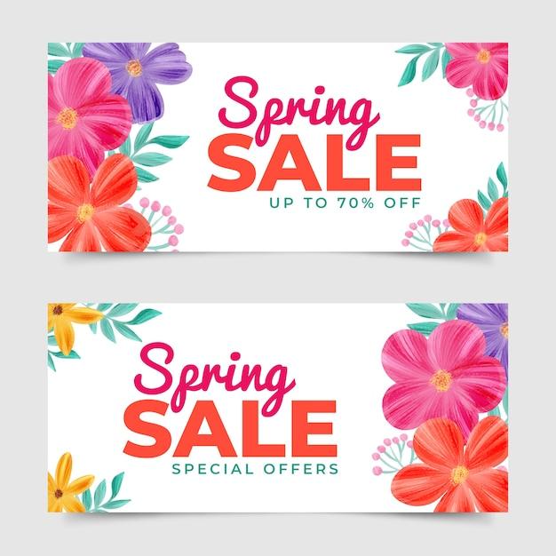 Tema delle bandiere di vendita di primavera dell'acquerello Vettore gratuito