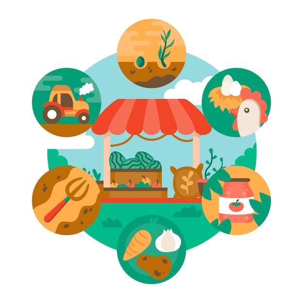 Tema di agricoltura biologica per l'illustrazione Vettore gratuito