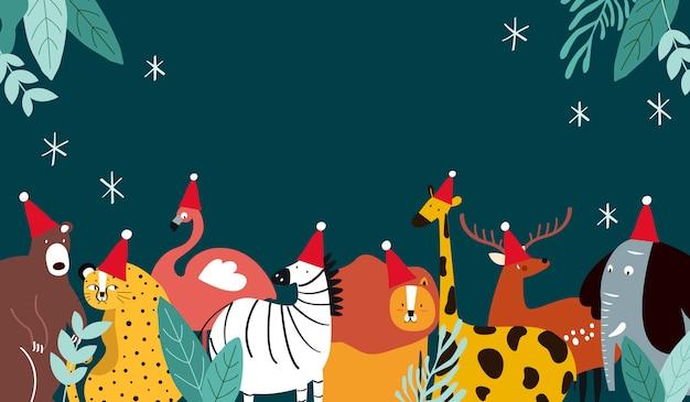 Tema di animali merry christmas card Vettore gratuito