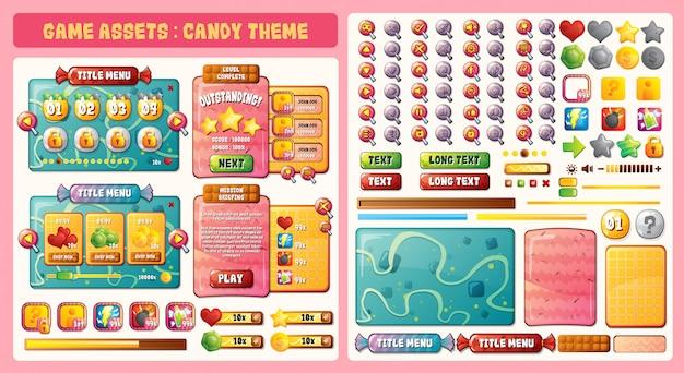 Tema di attività candy Vettore Premium