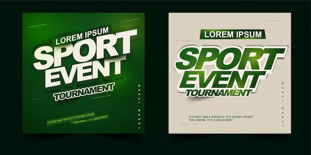 Tema di design di poster, flyer o banner quadrati di tornei di eventi sportivi con layout semplice Vettore Premium