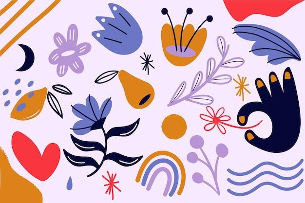 Tema di forme organiche astratte per il tema della carta da parati Vettore gratuito