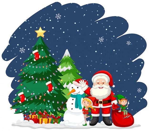 Albero Di Natale E Babbo Natale.Tema Di Natale Con Babbo Natale E Albero Vettore Gratis