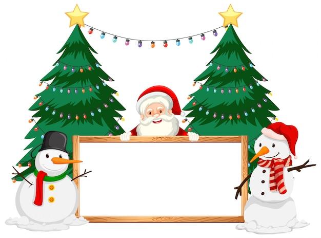 Tema di natale con babbo natale e pupazzo di neve Vettore gratuito