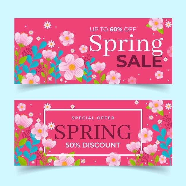 Tema di raccolta banner design piatto primavera vendita Vettore gratuito