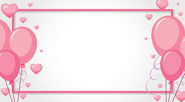 Tema di san valentino con palloncini rosa Vettore gratuito