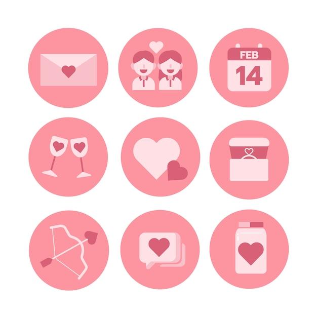 Tema di san valentino, set di icone monocromatiche. illustratore vettoriale Vettore Premium