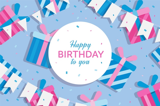 Tema di sfondo compleanno design piatto Vettore gratuito