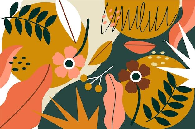 Tema di sfondo floreale astratto design piatto Vettore gratuito