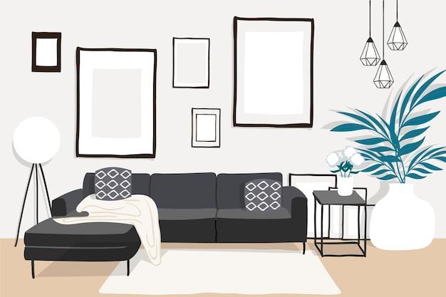 Tema di sfondo interni casa Vettore gratuito