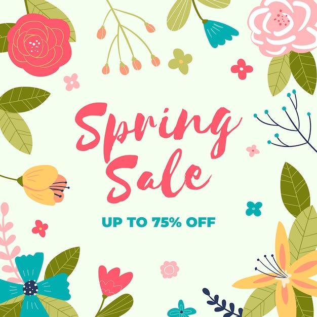 Tema di vendita di primavera disegnata a mano Vettore gratuito