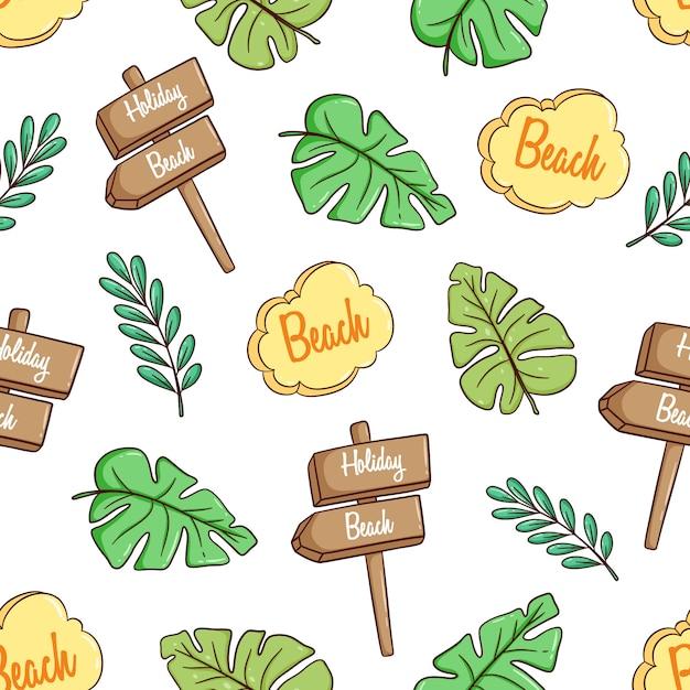 Tema disegnato a mano estate o vacanze con foglie di mostera e cartello in seamless Vettore Premium