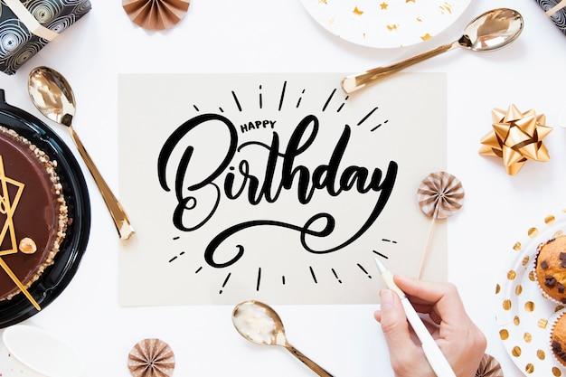 Tema festa di compleanno per lettering Vettore gratuito