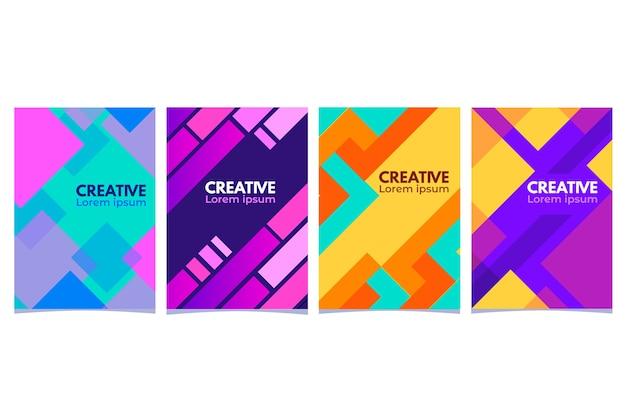 Tema geometrico astratto della collezione di copertine Vettore gratuito