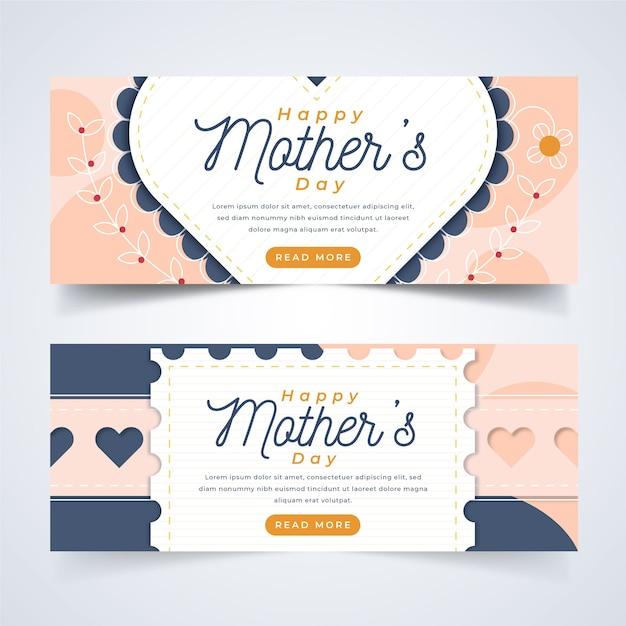 Tema modello per banner con festa della mamma Vettore gratuito