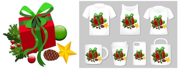 Tema natalizio con confezione regalo su molti prodotti Vettore gratuito