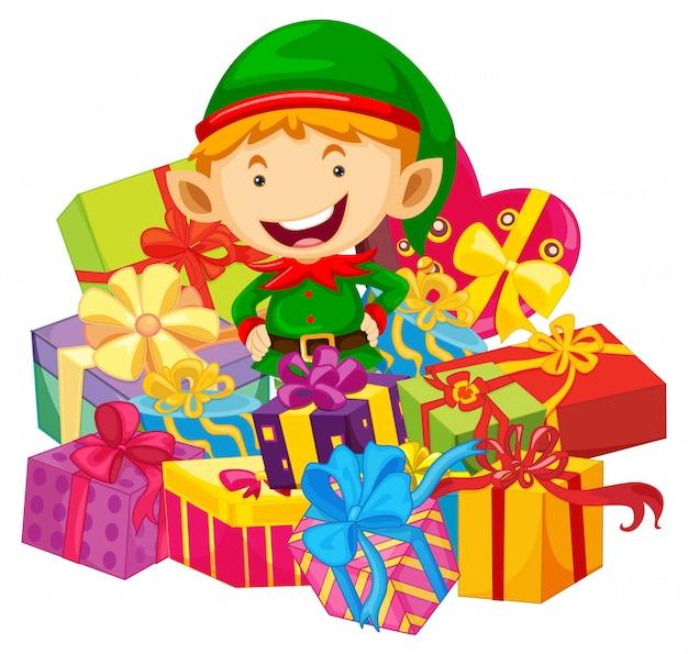 Tema natalizio con elfo e tanti regali Vettore gratuito